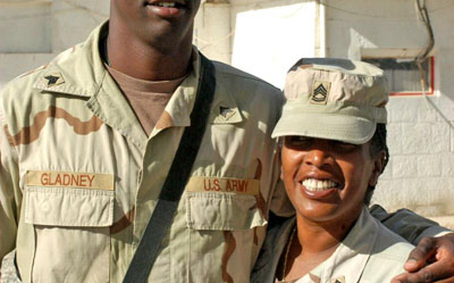 Now in their fourth year of marriage, Sgt. 1st Class Norrine Gladney and Sgt. Marc Gladney, both of the 94th Engineers, are an old married couple compared to the others. And, they said, the stress of the deployment sometimes makes them fight like one.