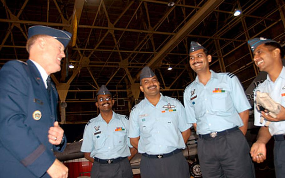 Lt. Gen. Bruce Wright, U.S. Forces Japan and 5th Air Force commander, meets and talks with several Indian Air Force members at Misawa Air Base, Japan, late last month.