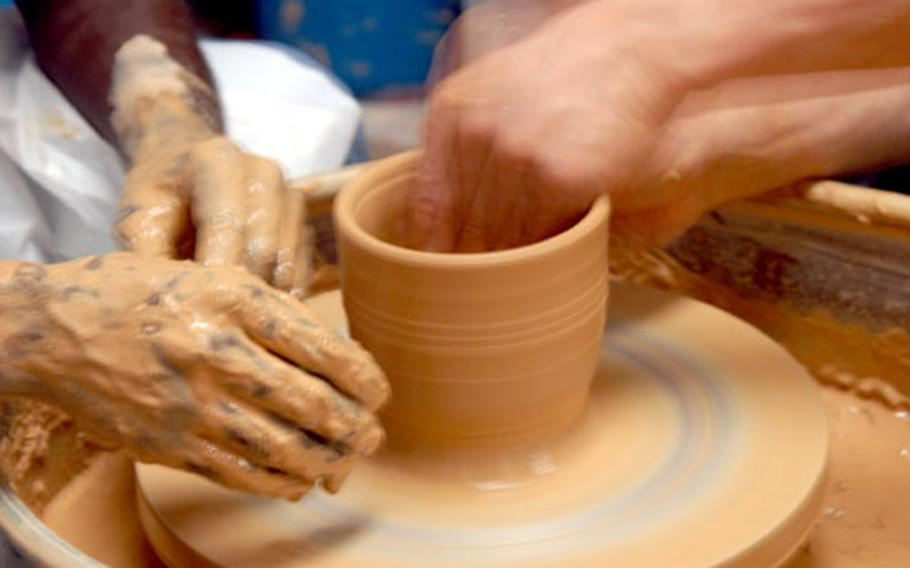 Weekly pottery classes are available at the Arts and Crafts Center on Yongsan Garrison in Seoul. A session of four classes costs $40.