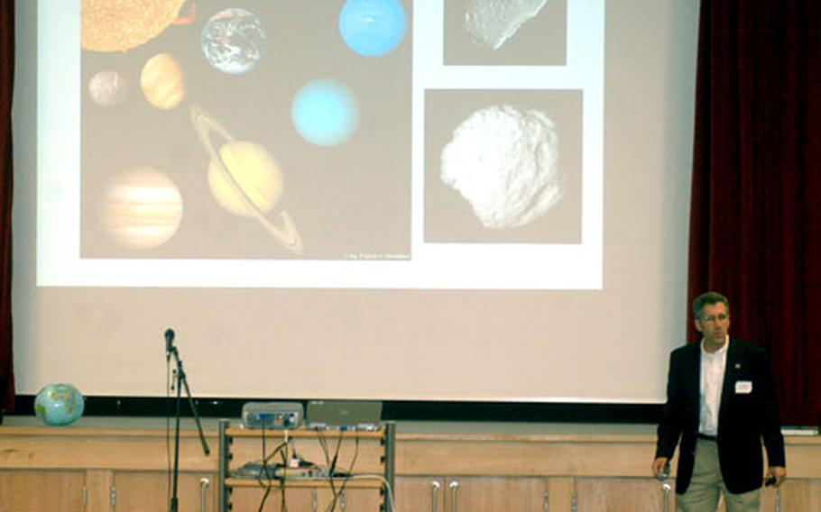 Mark Hofstadter talks to pupils about the solar system during his visit to Lakenheath Middle School.