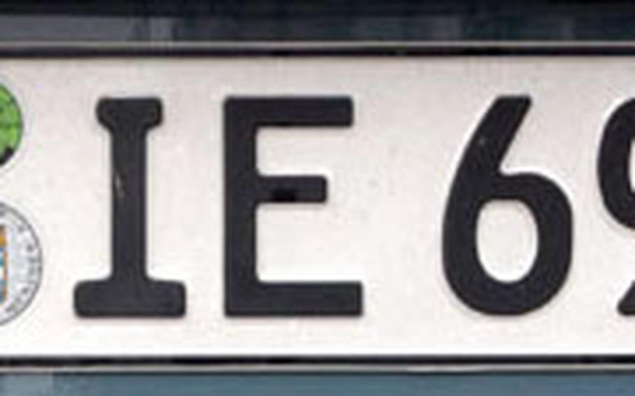 """The Army is doing away with the """"USA"""" license plates, top, citing force protection. The German plate, above, has the European Union symbol and a D for Deutschland (Germany). The changes, to be phased out over two years, will start in December."""