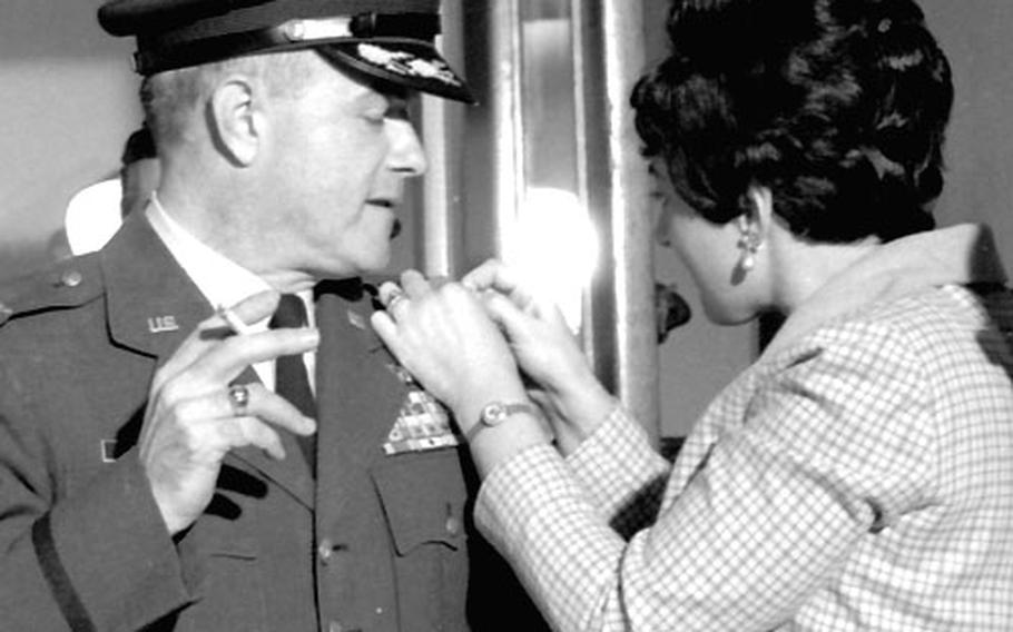 """Lt. Col. Paul D. Orwoll is """"promoted"""" to full colonel for a scene in """"Topaz."""""""