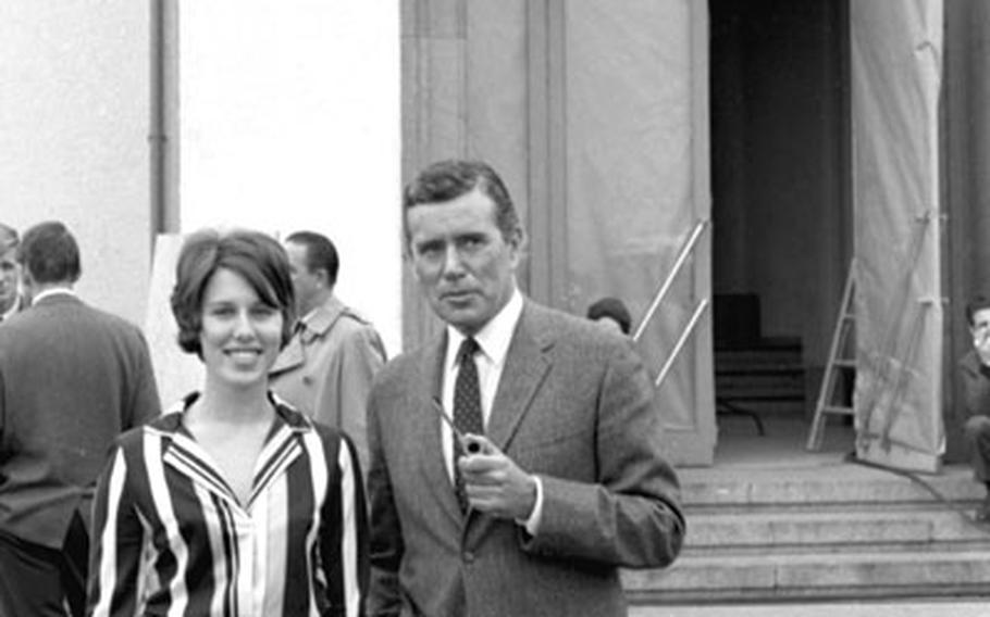 Actor John Forsythe poses for a photo at Wiesbaden.