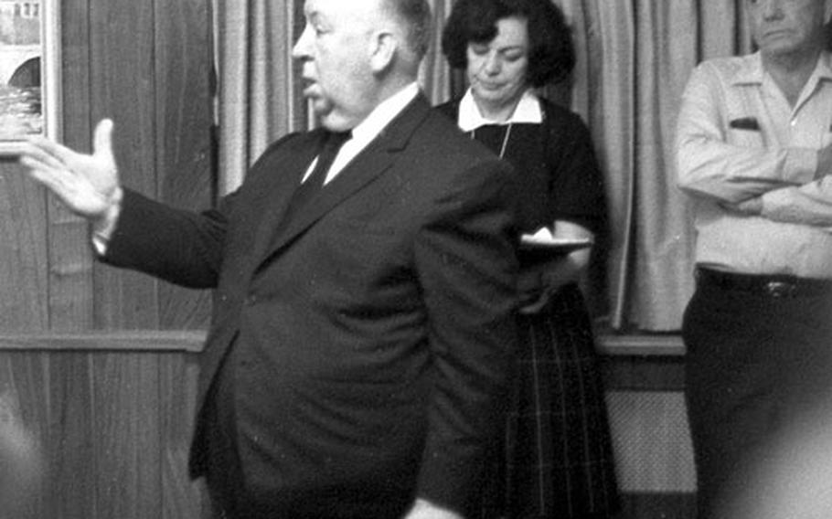 Alfred Hitchcock directs a scene at Wiesbaden in 1968.