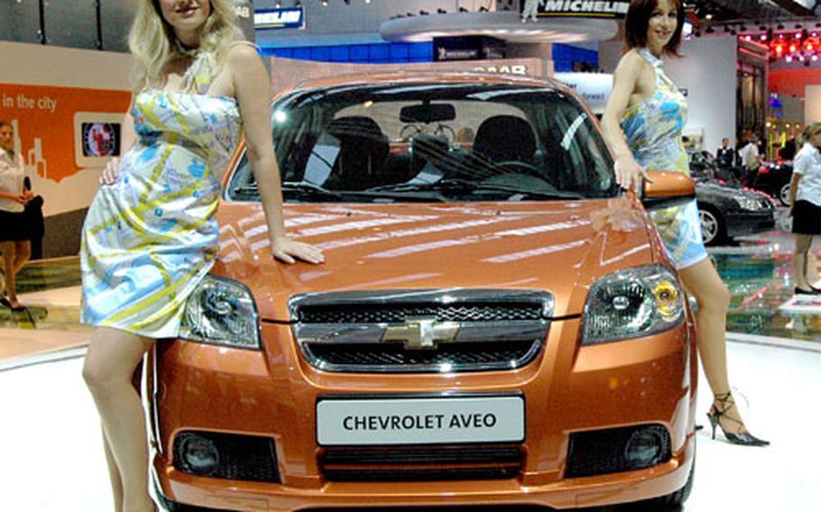 Chevrolet showed off its South Korea-built Aveo at the Frankfurt International Motor Show on Tuesday.
