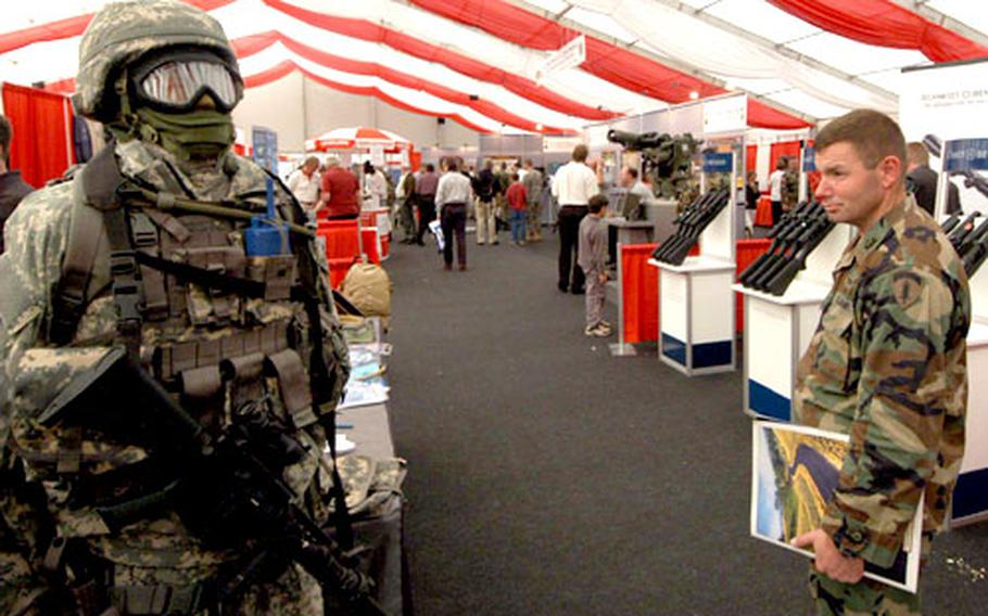 Inside the big tent at the Land Combat Expo 2005 in Heidelberg, Germany. The expo runs through Friday at the Village Pavilion at Patrick Henry Village.