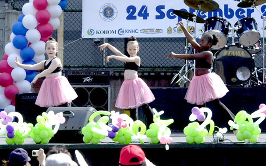 Base youths give a dance performance during the Hannam Village Community Festival on Saturday. The festival honored Korean history and traditions.