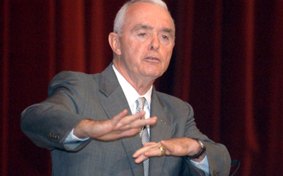 Retired Gen. Barry McCaffrey spoke at the U.S. Army Europe Land Expo recently, praising servicemembers for their work and critiquing the government's efforts in the fight against terrorism.