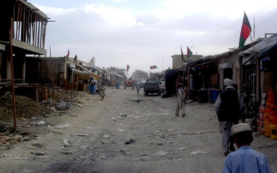 Most roads in Paktika province, even in the middle of larger communities such as Orgun, are of the most basic nature: dirt, mixed with rocks and debris. This stretch will soon be covered with a cobblestone road.