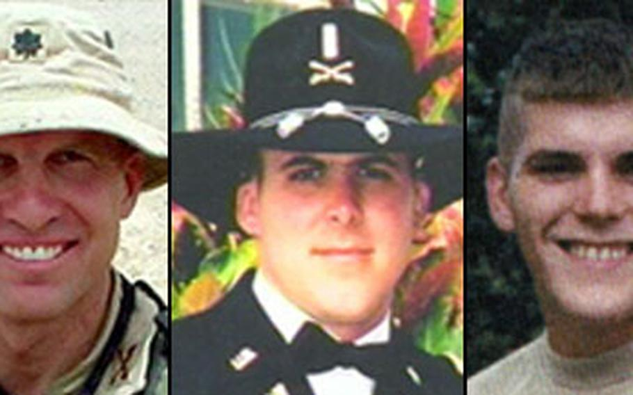 From left, Lt. Col. Michael McMahon, Chief Warrant Officer Travis Grogan and Spc. Harley Miller were killed in a helicopter crash in Afghanistan in 2004.