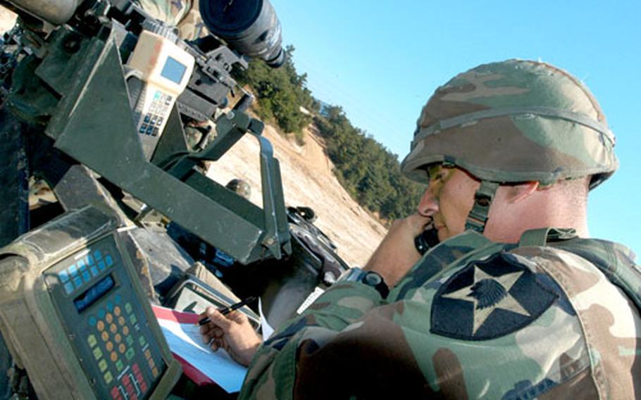 Troop C, 4th Squadron, 7th Cavalry Regiment senior mortar man 1st Sgt. Chad Utz, 35, of Dallas, Texas, plots co-ordinates before firing.