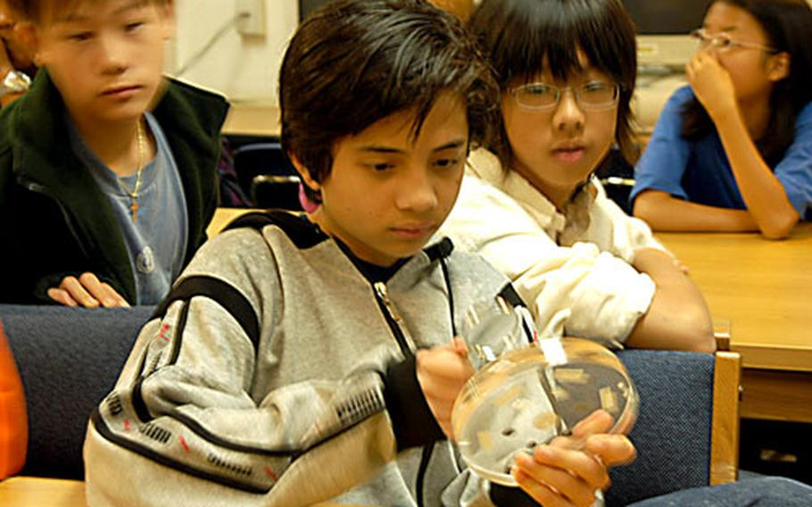 Eighth-graders at Seoul American Middle School look at samples of moon rocks on Friday.