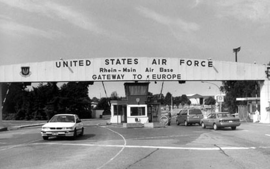 """For generations of American servicemembers and their families, Rhein-Main Air Base, Germany, was their first glimpse of the continent, thus it was known as the """"Gateway to Europe."""" The sign and gate were taken down after a portion of the base was returned to the German government."""