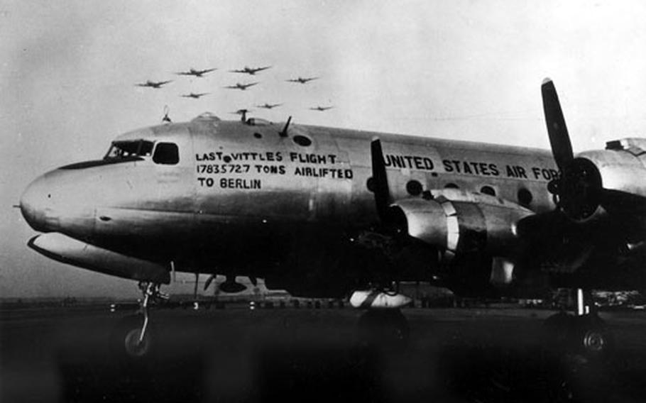 The last Vittles flight to Berlin left Rhein-Main Air Base on Sept. 30, 1949. Figures on the side represent the total tonnage airlifted by U.S. airplanes. Sister ships flew in formation to mark the end of a dramatic chapter in air history, the Berlin Airlift.
