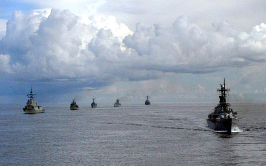 Ships from several NATO nations sailed roughly 40 miles from the southern tip of the Italian island of Sardinia Friday while taking part in Destined Glory (Loyal Midas) 2005.