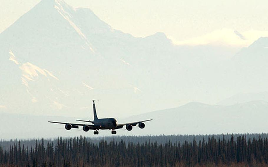 A KC-135 Stratotanker from Kadena Air Base, Japan, lands at Eielson Air Force Base, Alaska, on Oct. 7 after an area familiarization flight in preparation for exercise Cope Thunder 06-1.