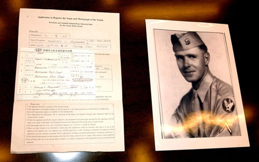 Air Force Staff Sgt. Charles O. Baumgartner, shown at right, was listed officially as a victim of the atomic bomb dropped on Hiroshima on Aug. 6, 1945. The application for including him among recognized victims is at left.