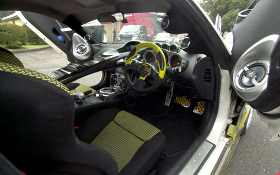 Interior of an audio car on exhibition by one of the many Japanese companies displaying autos at the car show.