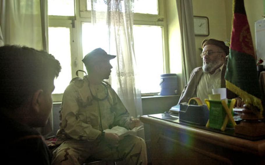 Capt. Todd Tarner, center, speaks with the director of the Asadabad Central Hospital Wednesday afternoon in Afghanistan. The provincial reconstruction team performed a preliminary evaluation of potential improvements for the hospital.