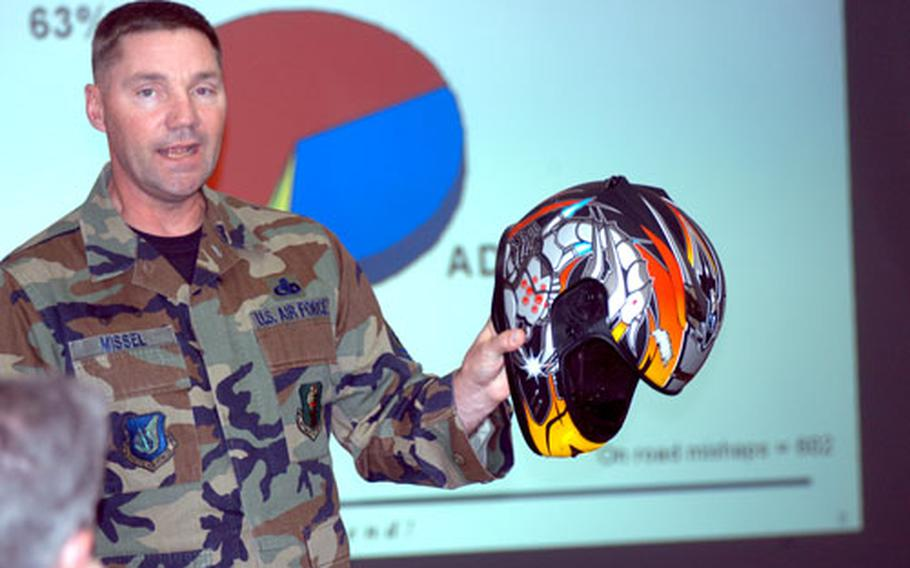 Misawa Air Base's Command Chief Master Sgt. Thomas Missel holds up the battered helmet of a motorcycle rider who was recently injured in an off-base crash during a motorcycle safety briefing Monday morning.
