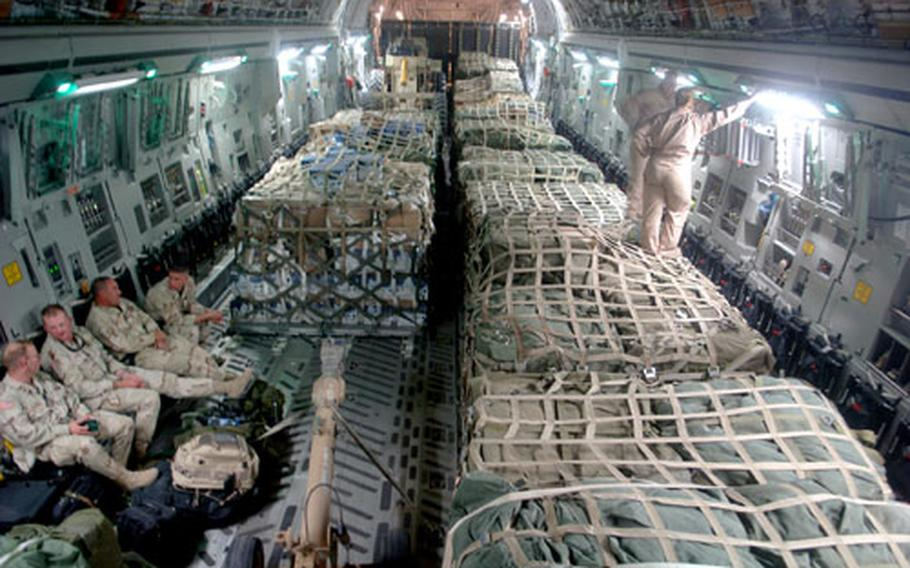 The first relief supplies from the U.S. were ready for departure aboard a C-17 Globemaster III from Bagram Air Base, Afghanistan, less than 48 hours after the devastating earthquake that left thousands dead and thousands more injured. The C-17 delivered about 90,000 pounds of food, water, medicine and blankets.