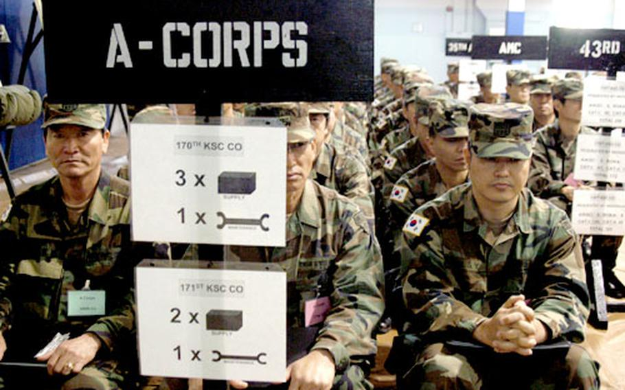Members of the Korean Service Corps demonstrate how companies within the corps' reserves would mobilize and deploy throughout Korea during wartime. These men represent companies that would attach to A-Corps to help with logistical support.