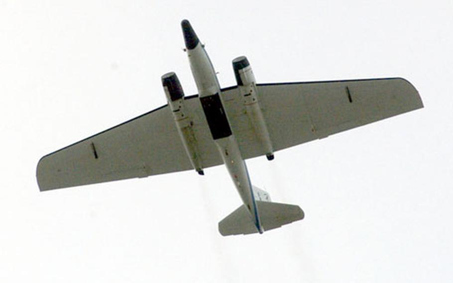 A NASA WB-57 aircraft takes off from RAF Mildenhall. The WB-57 iss scheduled to fly four missions from Mildenhall through the end of the month to collect cosmic dust.