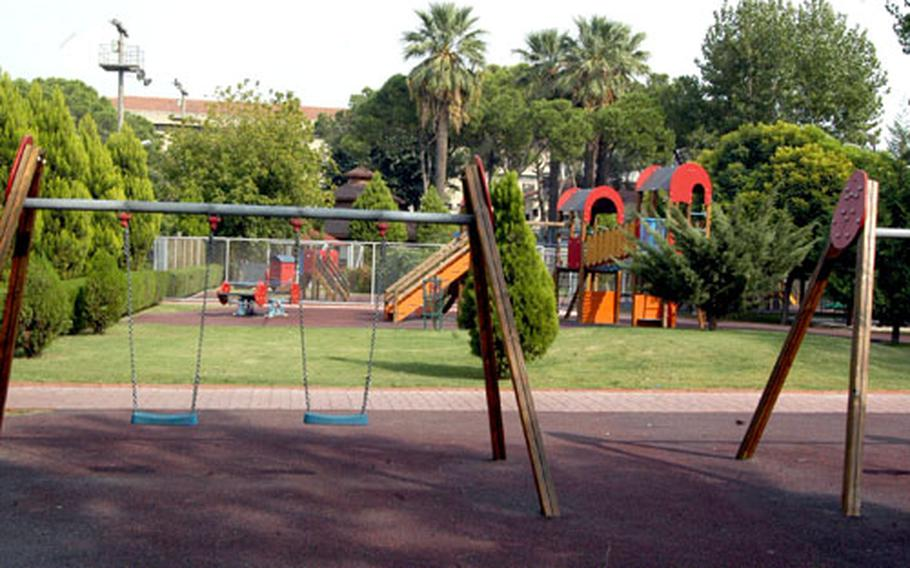 The Bayrakli compound in Izmir, Turkey, is filled with places for kids to play — but there aren't any kids. Americans serving in the city are there without their families, though that might soon be changing through a proposal to again make it an accompanied tour.