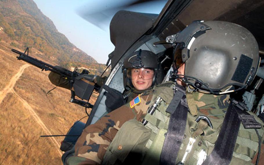 2-2 soldiers practice door gunnery at Rodriguez Range on Monday.