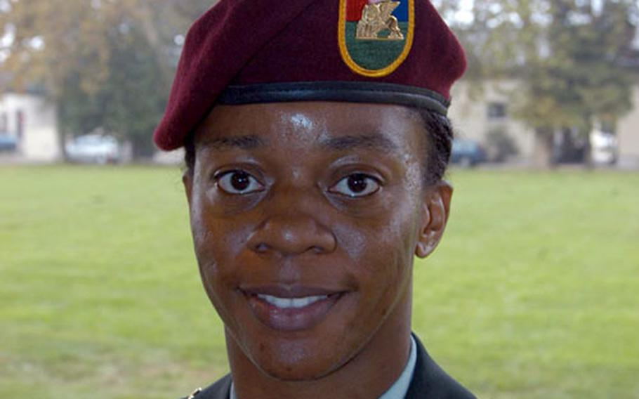 Sgt. 1st Class Kimberly Adams, Southern European Task Force (Airborne) in Vicenza, Italy.
