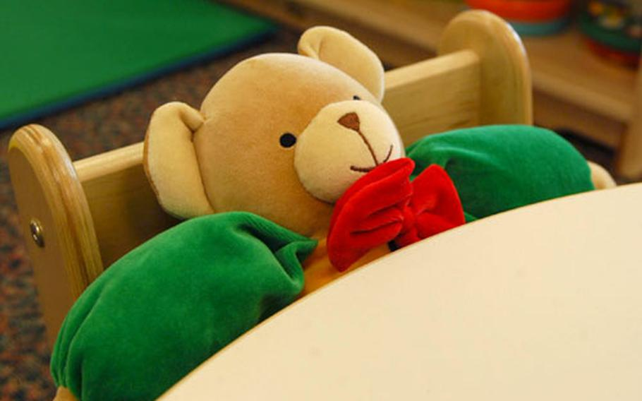 A toddler will soon be sitting in the space currently occupied by this teddy bear at the new Child Development Center at Aviano.