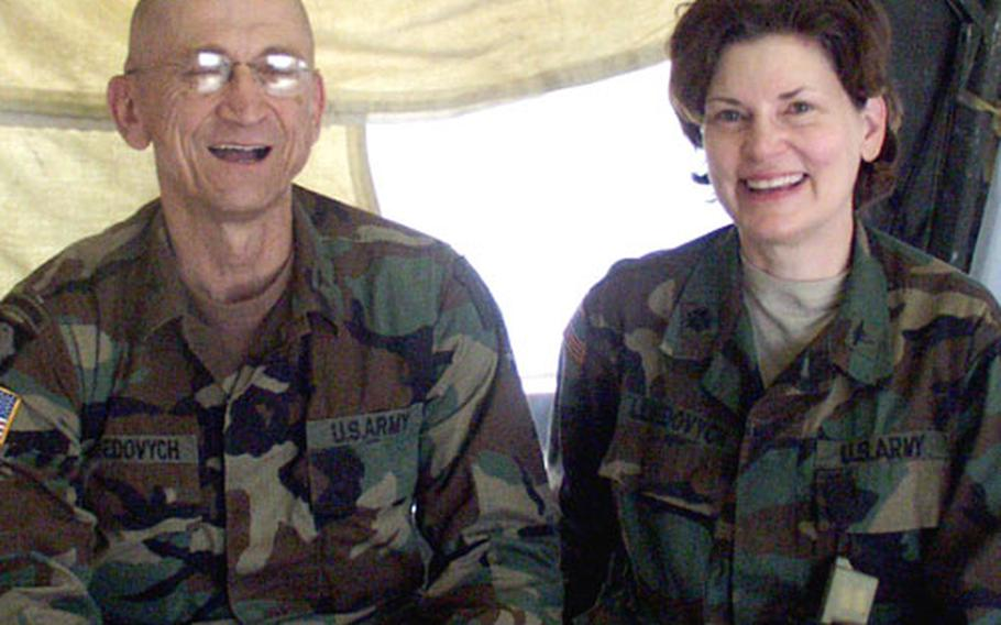 Col. Victor Lebedovych, senior surgeon with the 212th Mobile Army Surgical Hospital, and Lt. Col. Linda Lebedovych, a nurse-anesthetist with the unit.