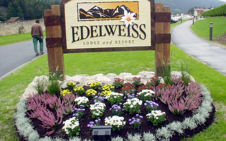The Edelweiss Lodge and Resort's sign at Garmisch, Germany.
