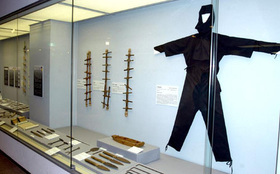 Numerous replicas of ninja tools, weapons and clothing are on display at the Hachinohe City Museum.