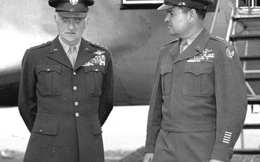 Gen. Carl Spaatz, left, is welcomed to Wiesbaden, Germany, by Lt. Gen Curtis LeMay in May, 1948.