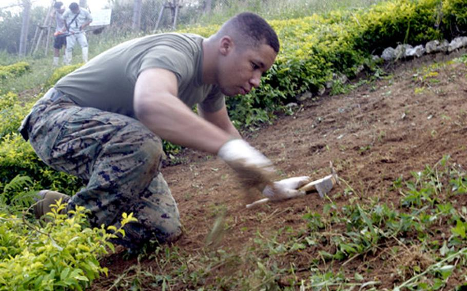 Lance Cpl. Marco N. Adams joins other Marines from Camp Hansen and Kin Town Chamber of Commerce members in tilling soil around a topiary during a highway beautification project.