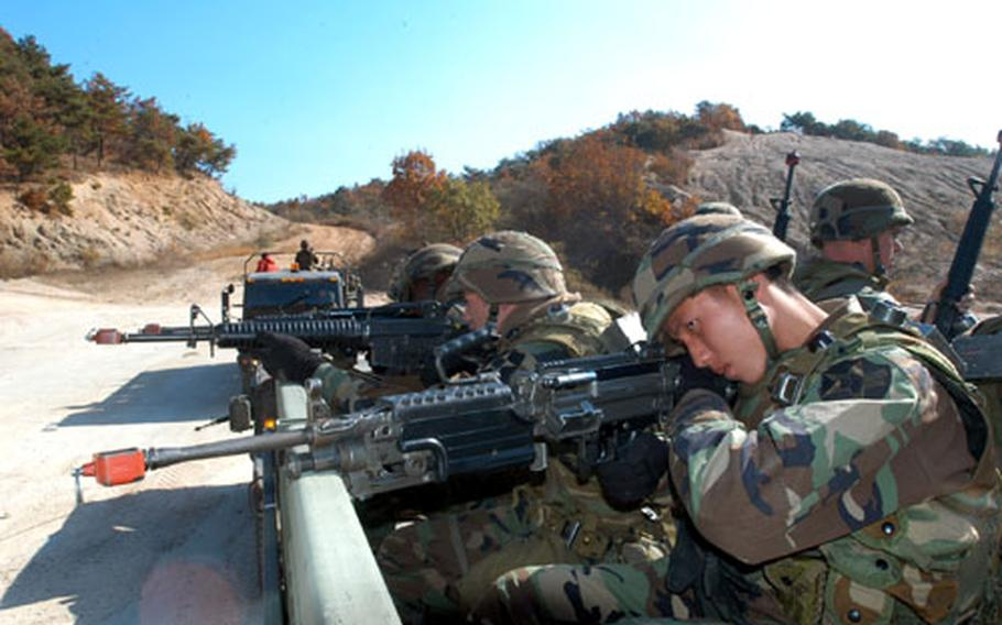 Company A, 602nd Aviation Support Battalion soldiers line up targets at Warrior Valley in South Korea on Monday.