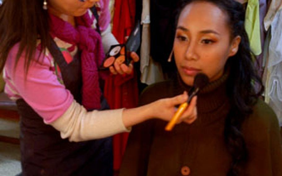 """Sonya has her makeup done backstage before a performance of """"Carmen"""" on Wednesday."""