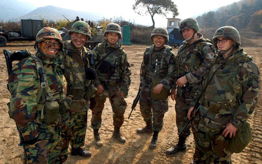 U.S. and Republic of Korea Army soldiers pause for a moment during training on Thursday.