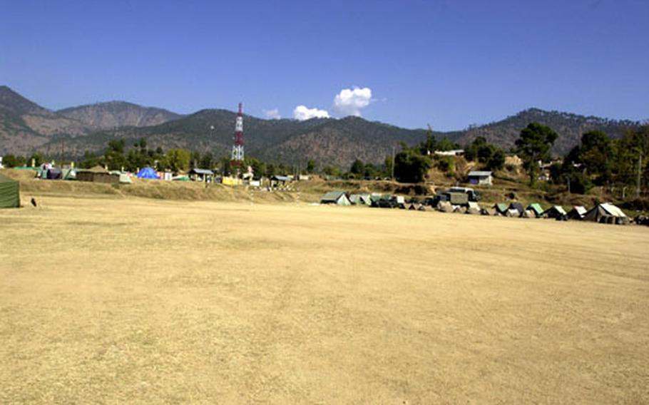 The dry and dusty site in the Himalayan Mountains in Shinkiari, Pakistan, where the III MEF detachment will set up. The group, which includes the Bravo Surgical Company from 3rd Medical Battalion, should be completely set up by midweek.