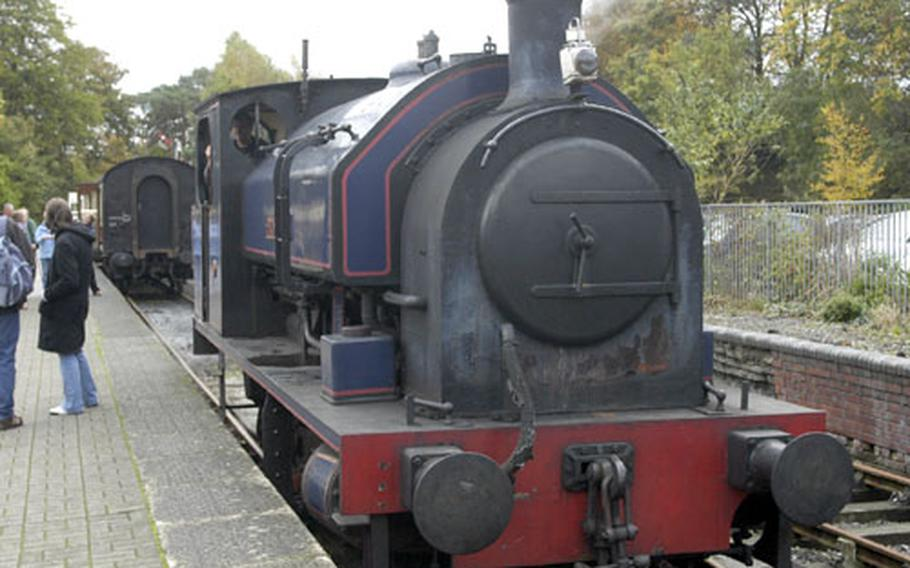 """The 1942 Scottish-built """"Princess"""" steam engine pulls foward after unhooking a load of passenger cars it had just pulled on a short trip through the English countryside in October on one of its regularly-scheduled trips."""