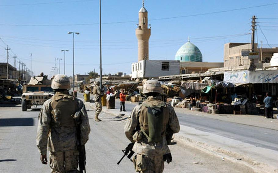 U.S. Marines patrol the city of Husaybah for the first time in more than a year.