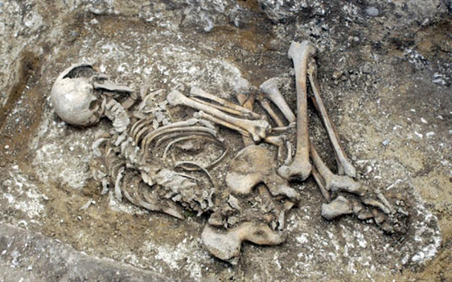 The bones of a 4,000-year-old Bronze Age woman rest in the bottom of a burial pit at a construction site at RAF Lakenheath. Five sets of remains, including three complete skeletons, were found at the site, which will eventually hold new base housing.