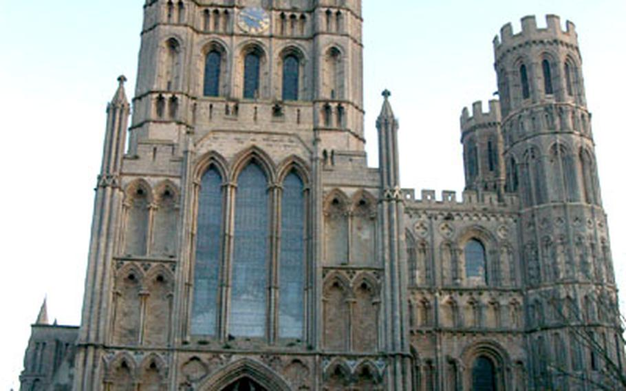 A special service is held every Thanksgiving Eve at the Ely Cathedral. The service — and the pie social that follows — draw more than 1,200 people, most of them Americans from nearby air bases.