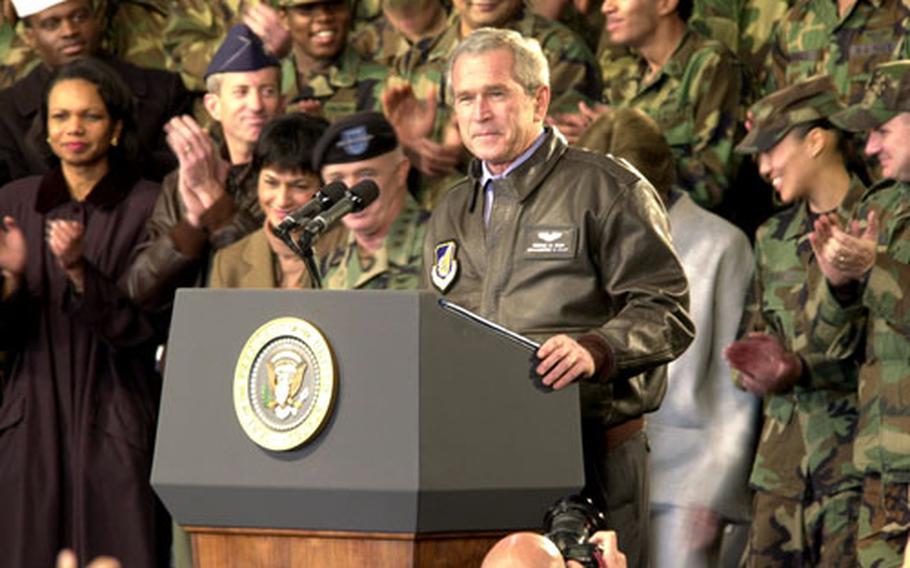 President Bush greets the crowd Saturday at Osan Air Base, South Korea.
