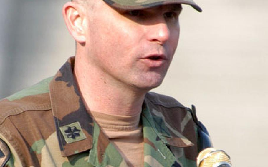 U.N. Command security battalion commander Lt. Col. Paul E. Snyder speaks at Wednesday's ceremony.