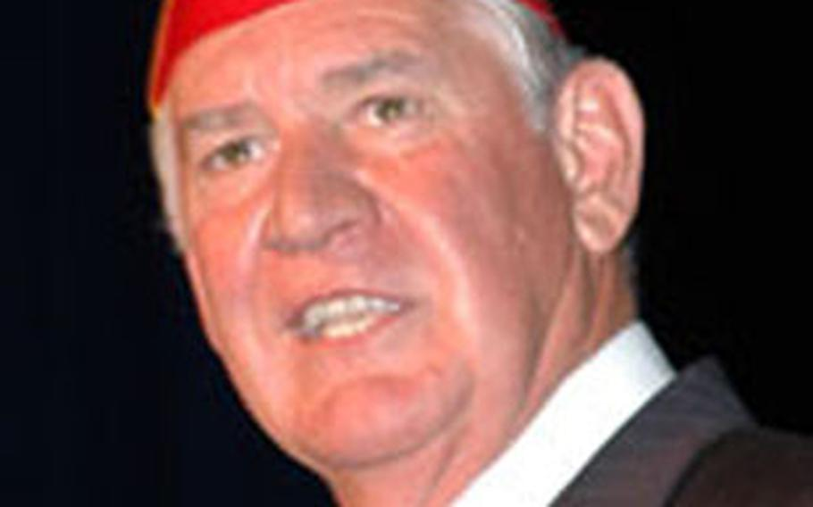American Legion National Commander Thomas Bock spoke with veterans at Okinawa's American Legion Post 28 last week.