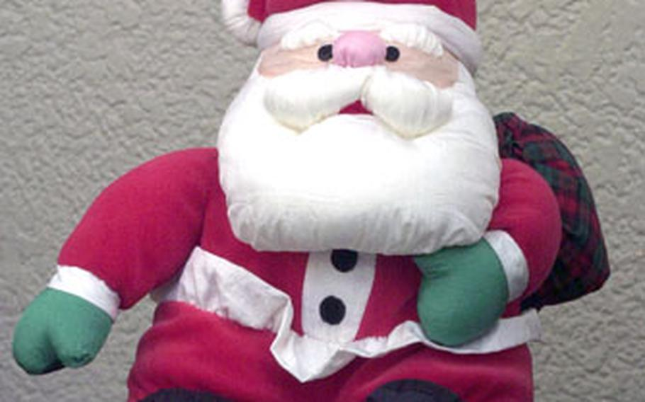 A $500 reward has been offered for the capture of this Santa, last seen somewhere on Yokosuka Naval Base, Japan. The contest to find the stuffed toy, set up by Morale Welfare and Recreation, begins Saturday.