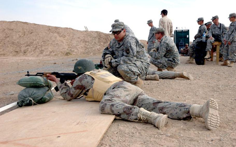Iraqi soldiers attend a training session on basic rifle marksmanship at Forward Operating Base McHenry.