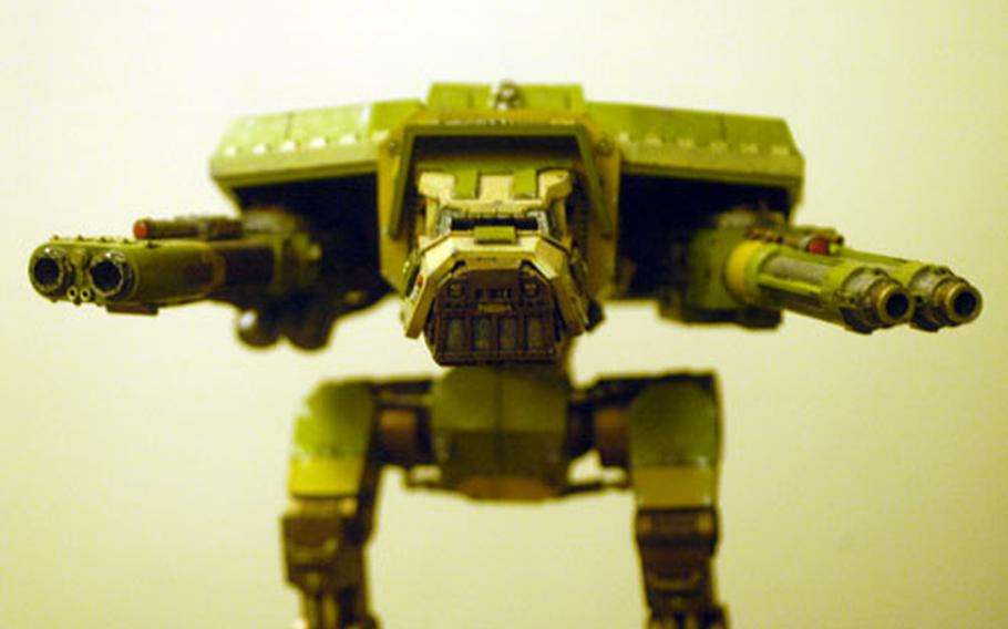 A Warhammer 40,000 Warhound Titan stands ready at a recent meeting of the Mildenhall Wargamers Club.